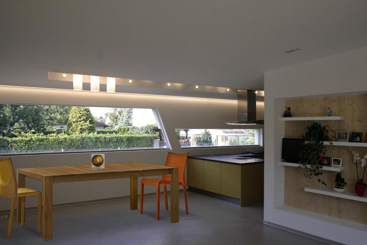 Innenansicht der Küche bzw. des Essbereichs in einem Bungalow der Paschinger Architekten