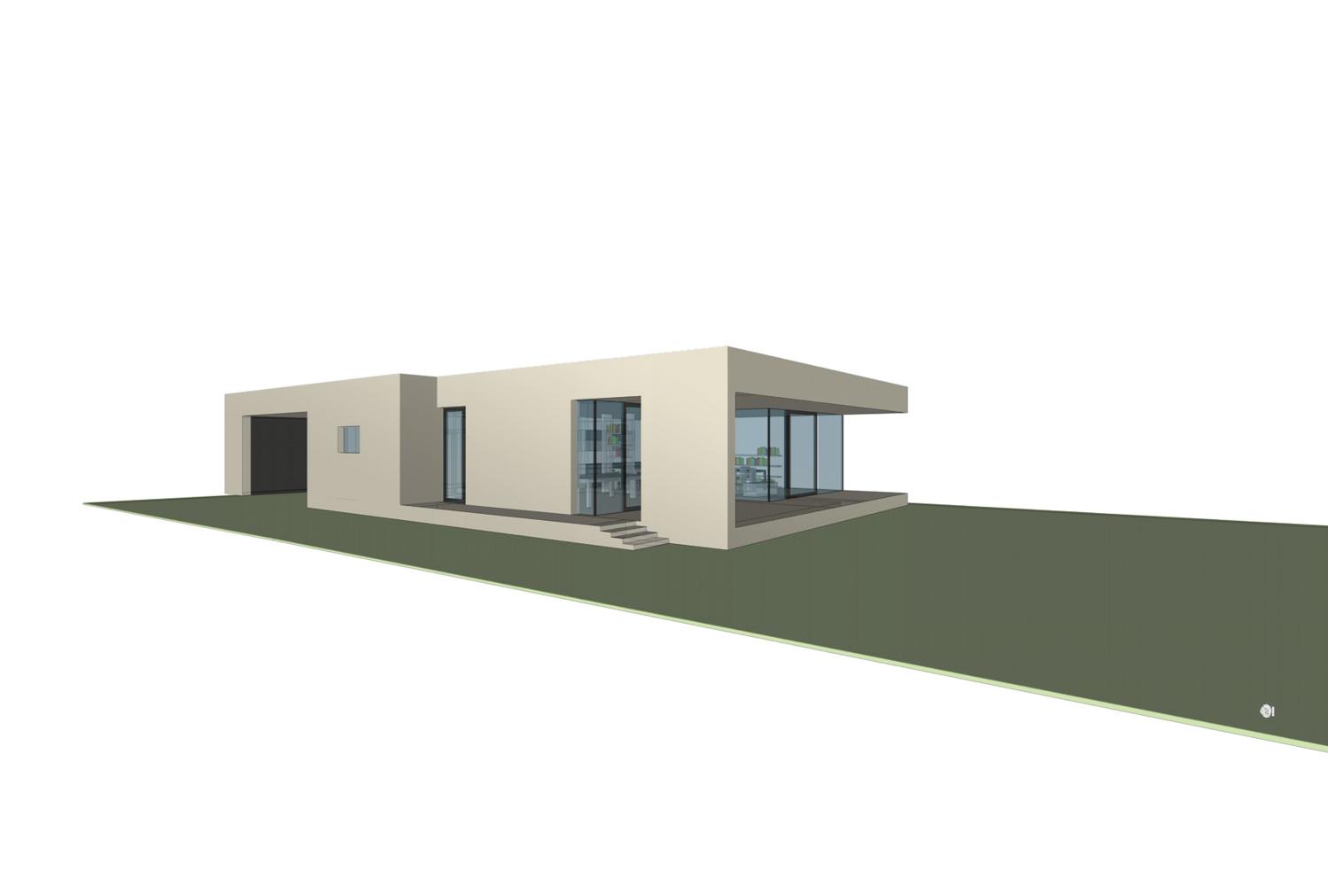 Konzept/Rendering eines Bungalows/Ateliers (Paschinger Architekten)