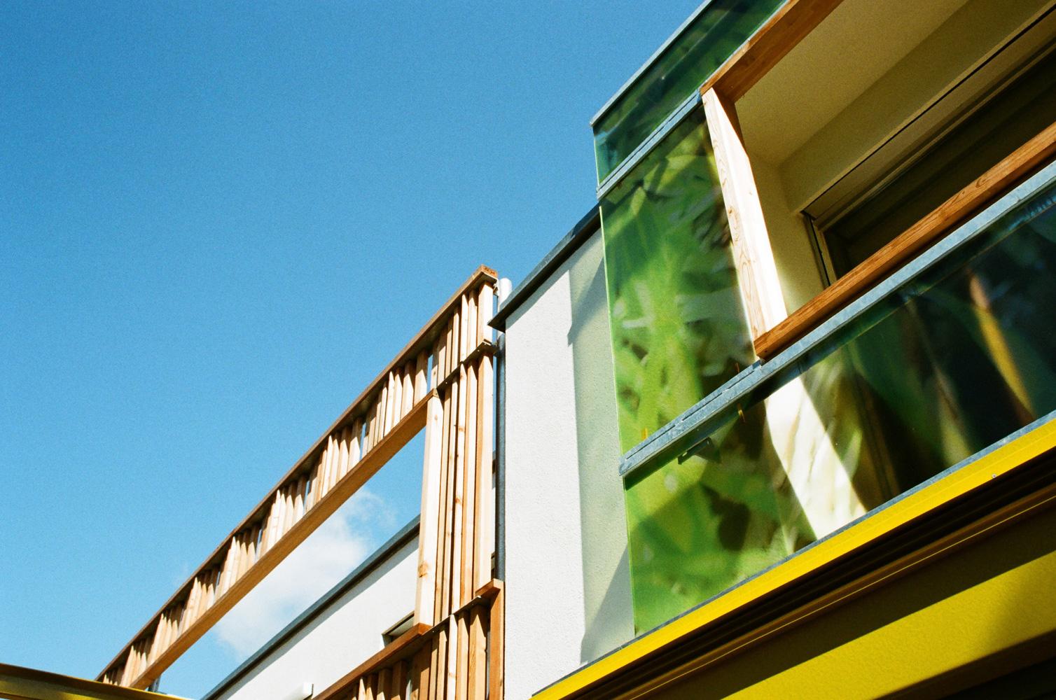Außenansicht der unterschiedlichen Fassaden-Gestaltungen des Doppelhauses an der alten Donau (Paschinger Architekten). Glas und Holz im Kontrast