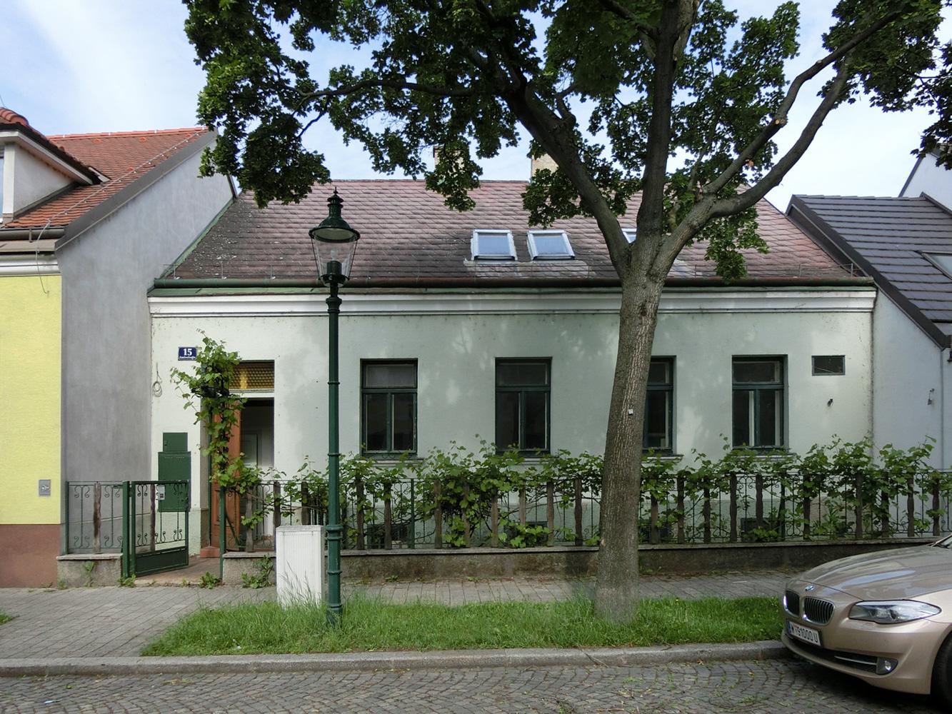 Außenansicht eines sanierungsbedürftigen Einfamilienhauses in Wien (Paschinger Architekten)