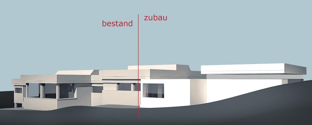 Konzeptansicht Kindergarten-Erweiterung Drassburg / kigago (Paschinger Architekten) Modulbauweise Massivholz