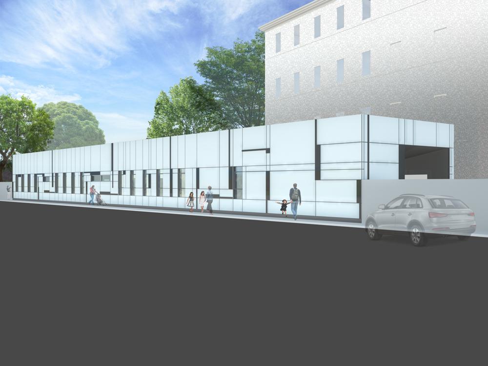 Konzeptdarstellung Kindergarten Massivholzbauweise Wien / kigago (Paschinger Architekten)