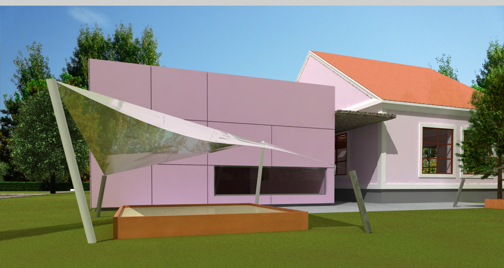 Konzeptdarstellung Kindergarten Burgenland / kigago (Paschinger Architekten)