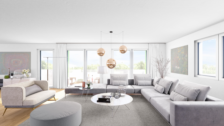 Vorentwurf/Rendering/Visualisierung eines Wohnzimmers einer Wohnhausanlage in Wien von den Paschinger Architekten aus Wien.