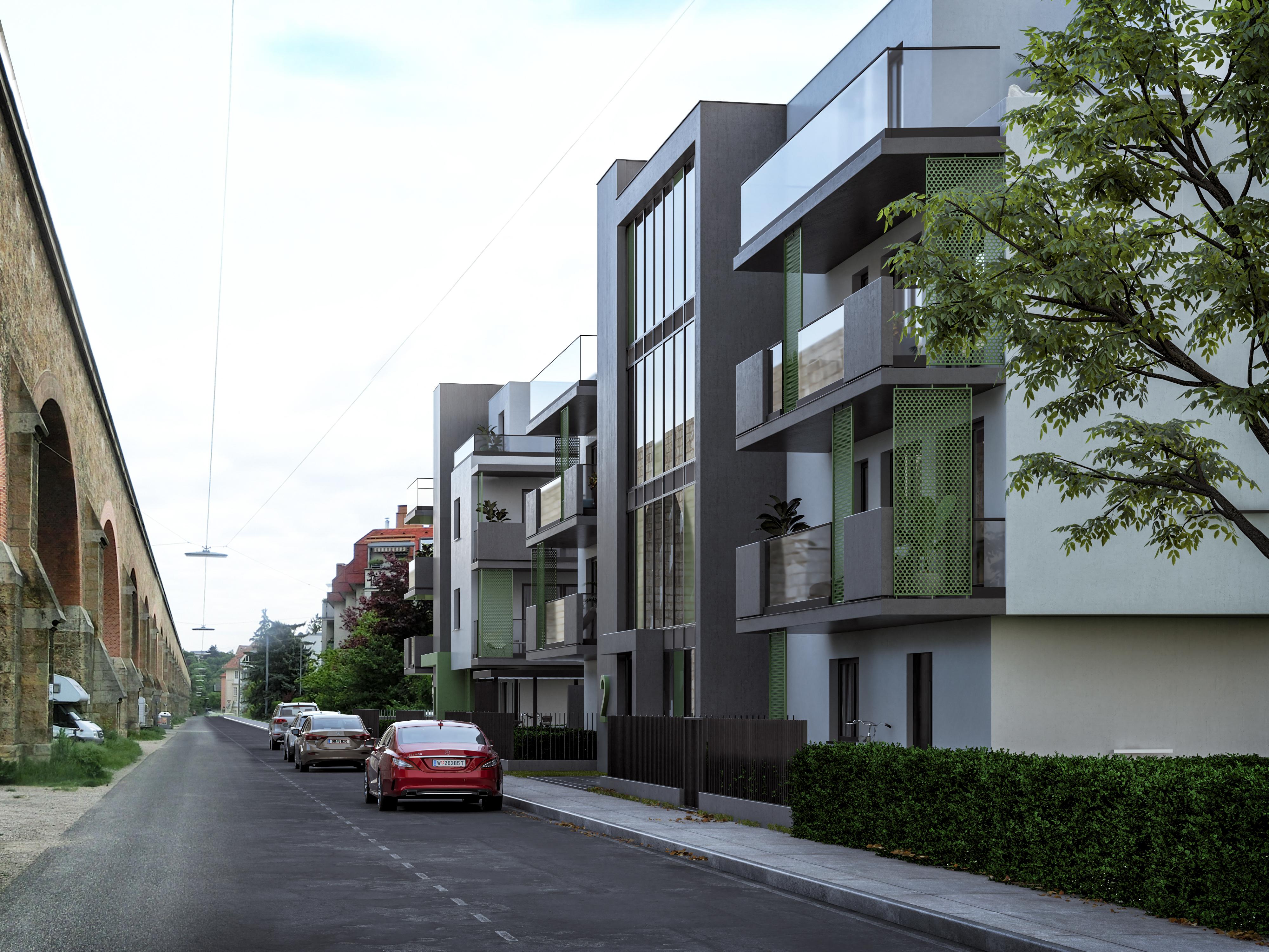 Foto einer fertiggestellten Wohnhausanlage in Wien | Paschinger Architekten aus Wien.