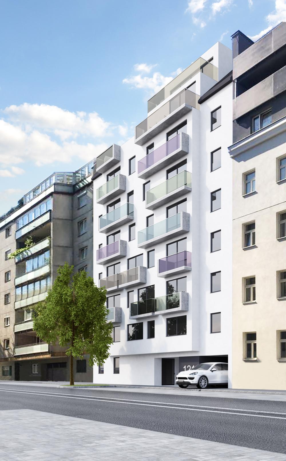 Außenansicht/Rendering Wohnbau in Wien / Paschinger Architekten