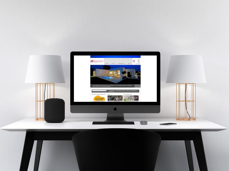 Computer-Bildschirm mit Webseiten-Ausschnit der Kammer für ZiviltechnikerInnen, ArchitektInnen und IngenieruInnen