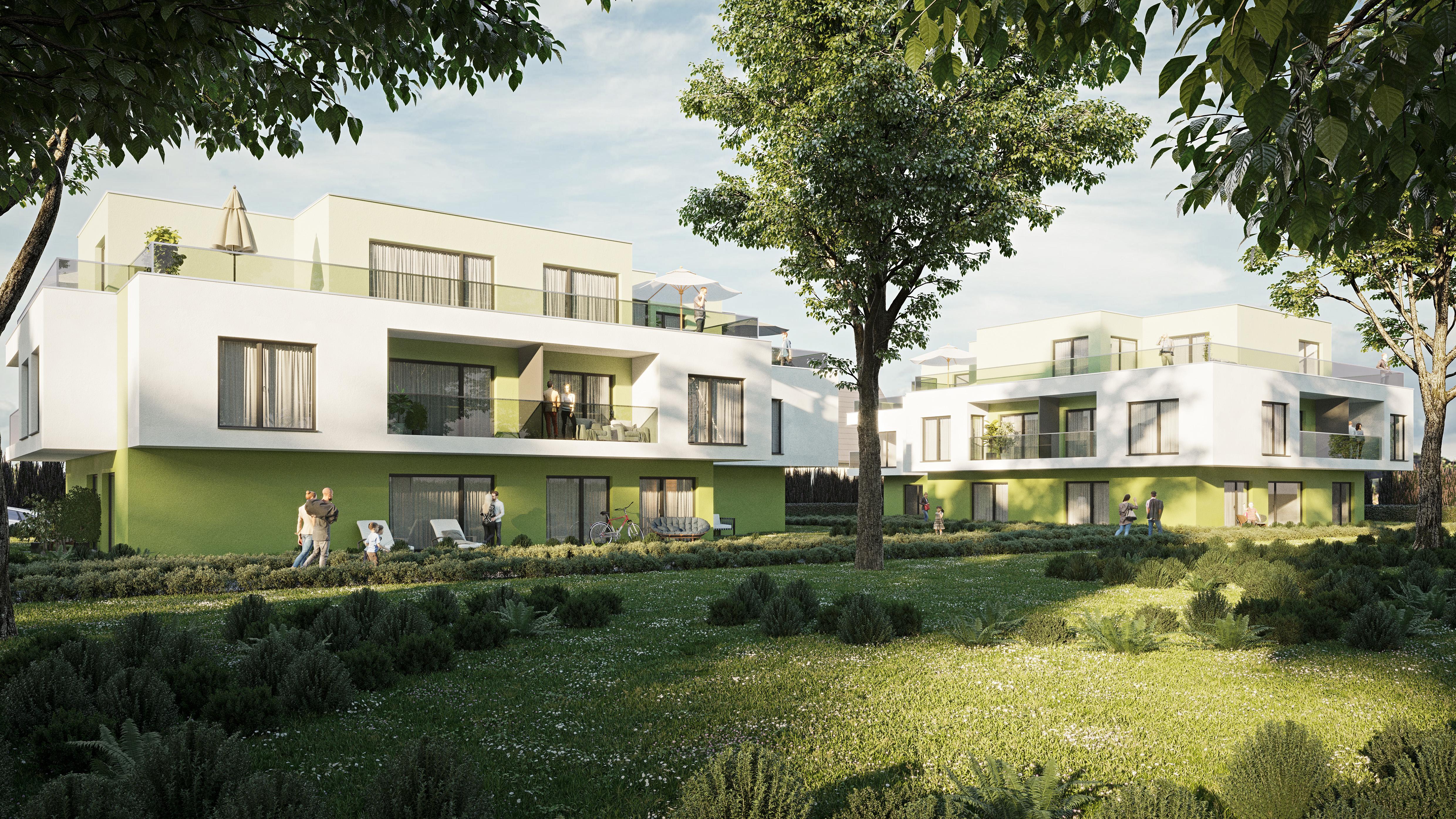 Vorentwurf/Rendering/Visualisierung einer Wohnhausanlage in Wien von den Paschinger Architekten aus Wien.